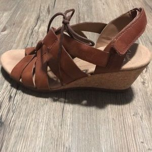 Leather Clark's Wedges